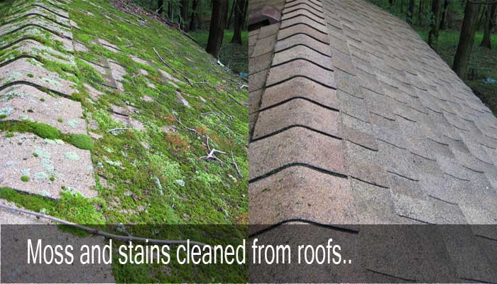 Stains and moss cleaned from roofs